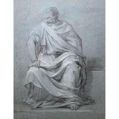 "Taillasson Jean-joseph (1745-1809) Attr à, ""seated Draped Man"" Drawing/black Chalk, White Chalk"