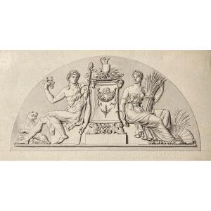 """Lesueur Jacques-philippe (1757-1830) Attr. To """"2 Drawings/frontons Of The Banque De France"""" Pen"""
