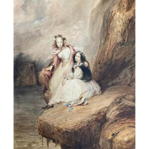 """Johannot Tony (1803-1852) """"minna And Brenda After""""the Pirate""""by Walter Scott"""" Watercolor,frame"""