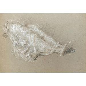 """Laurent Ernest (1859-1929) """"study Of Elongated Legs""""drawing/black Pencil,red Chalk,signed/stamp"""