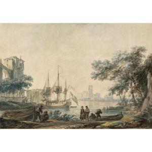 """Noel Alexandre Jean (1752-1834) """"marine"""" Gouache"""