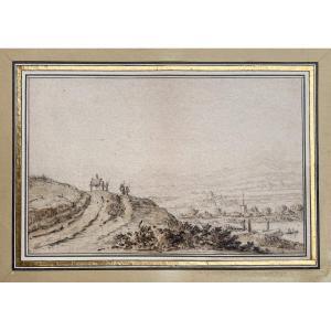 """SAFTLEVEN Herman (1609-1685) Attr. à """"Paysage animé à la charette"""" Dessin/Pierre noire, annoté"""