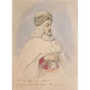 "French School Circa 1830 ""portrait Of Si Ben Ali Ben Chérif, Kabylie"" Drawing/pencil,watercolor"