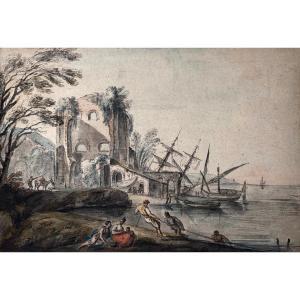 """LALLEMAND Jean-Baptiste (1716-1803) """"Paysage marin"""" Dessin/Plume et gouache, annoté"""