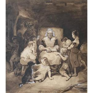 """Tassaert Octave (1800-1874) """"reading"""" Drawing/brown Wash,white Gouache, Signed And Dated, Frame"""