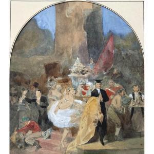 """LAMI Eugène (1800-1890) Attr à """"Personnages et danseuse"""" Dessin/Crayon noir, aquarelle, gouache"""