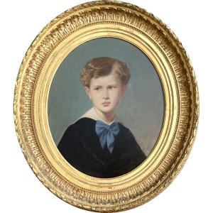 """Pineu-duval Amaury Dit Amaury-duval (1808-1885) """"portrait Of A Child"""" Oil/canvas,signed,dated"""