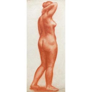 """GIMOND Marcel (1894-1961) """"Nu de femme debout"""" Dessin au crayon sanguine, signé"""