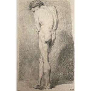 """HOUDON Jean-Antoine (1741-1828) """"Académie d'homme Recto/Verso"""" Dessin à la pierre noire, annoté"""