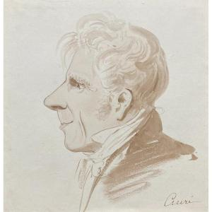 """Ciceri Charles(1782-1868)""""presumed Portrait Of Louis-jean-marie Atoch""""drawing/brown Wash,signed"""