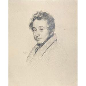 """Deveria Achille (1800-1857) """"portrait Of A Man"""" Drawing In Black Pencil, Signed And Dated"""