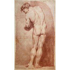 """HOUDON Jean-Antoine (1741-1828) """"Académie d'homme"""" Dessin/crayon sanguine, signé,daté et annoté"""