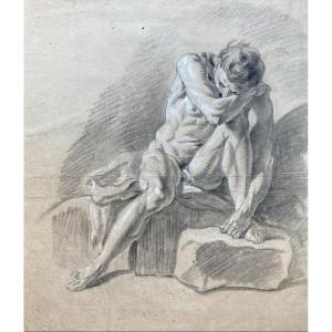 """ECOLE FRANCAISE 18E SIECLE """"Académie d'homme"""" Dessin/Pierre noire et craie blanche"""