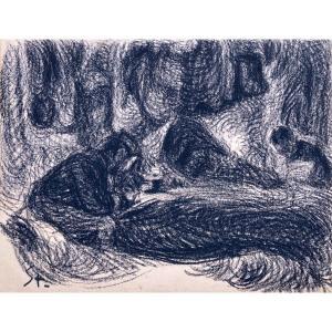 """STEINLEN Théophile Alexandre (1859-1923) """"Homme à l'écriture"""" Dessin au crayon noir, monogrammé"""