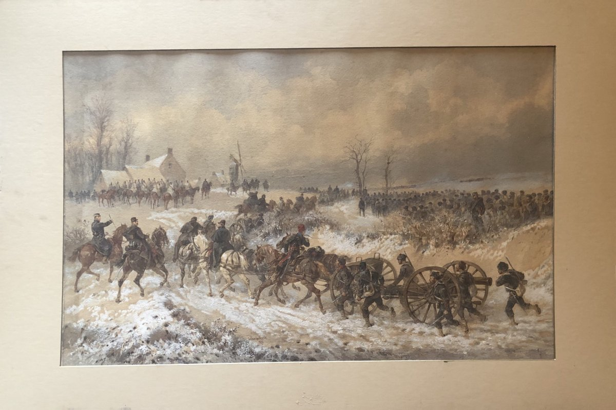 Aquarelle Bataille De Bapaume - Orlando Norie 1880