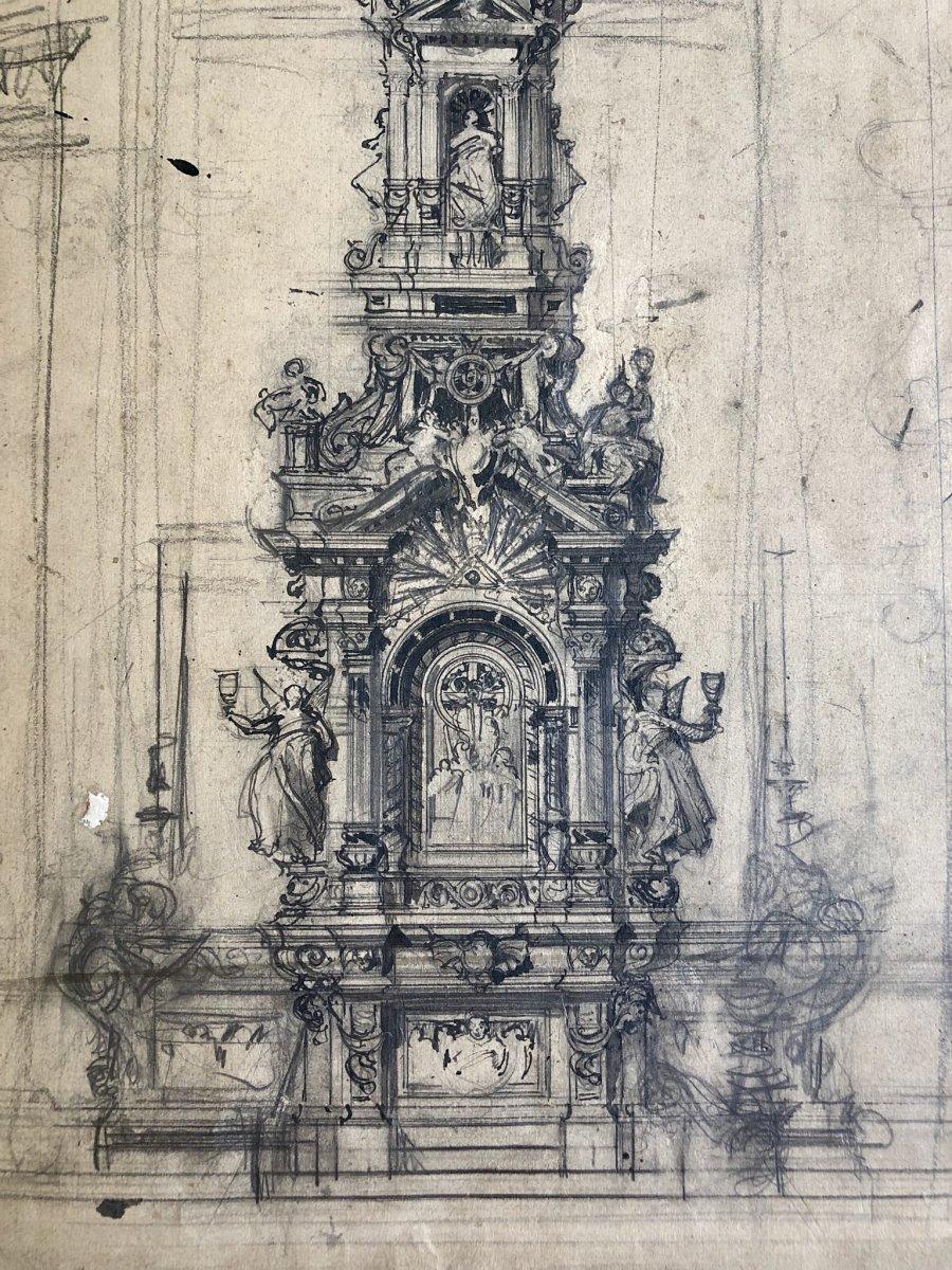 Paire De Dessins Encrés - projets d'Autels - Début Du XIXe Siècle