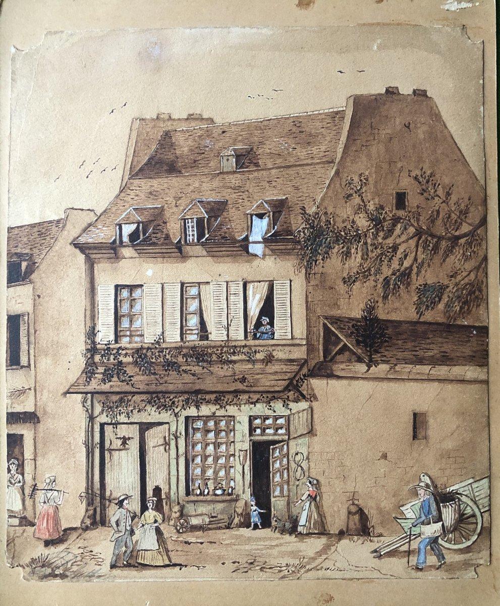 Dessin (lavis, aquarelle) école Du Nord - Fin Du XVIIIe Siècle