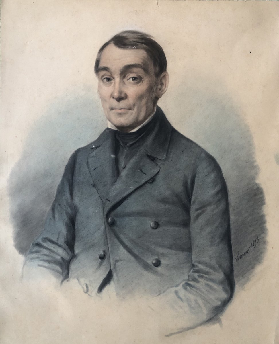 Portrait Crayon Signé Leman 1856