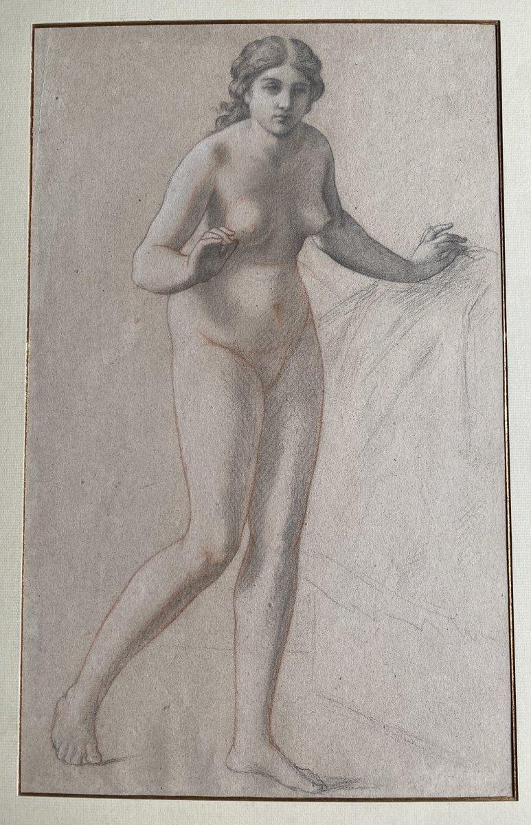 Pair Of Female Nude Drawings - XIXth Century