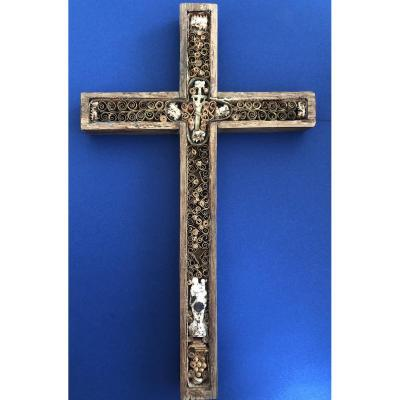 Grande Croix Reliquaire - Papiers Roulés - XVIIIe Siècle