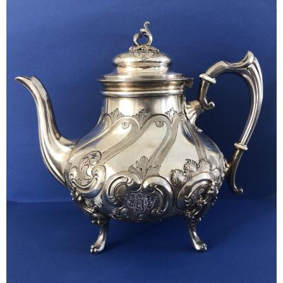 Coffee Pot In Silver Metal - Nineteenth Century - Victor Saglier
