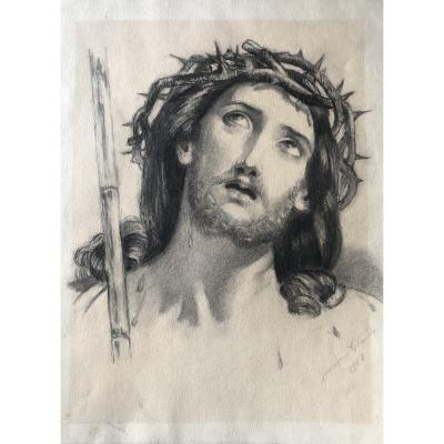 Drawing, Face Of Christ Signed Jeanne Claude 1902