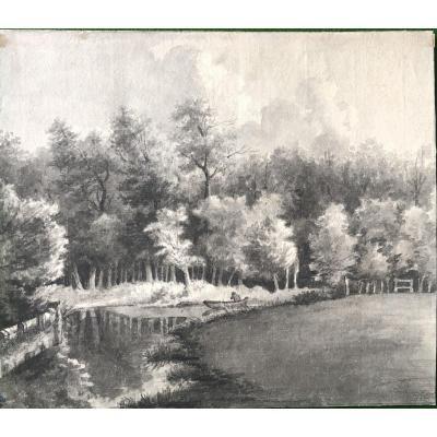 Lavis Paysage - XIXe Siècle
