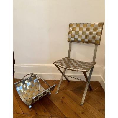 Rare Steel Chair And Magazine Rack, Michel Pigneres