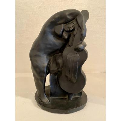 Statue «femme Au Violoncelle», Jan Et Joël Martel