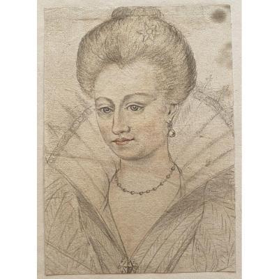 Dessin 19e Siècle - Néorenaissance - Portrait De Cour