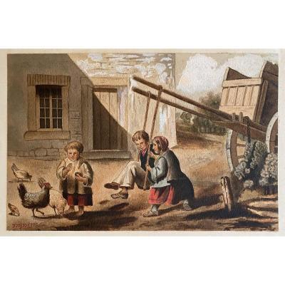 Gouache Signed Duseigneur - 19th Century