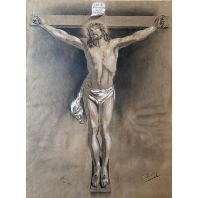 Dessin «crucifixion» Signé E. Boulay, 1885