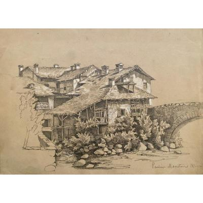 Dessin Village, 19e Siècle, Signature à Identifier