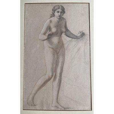 Paire De Dessins Nus Féminins - XIXe Siècle