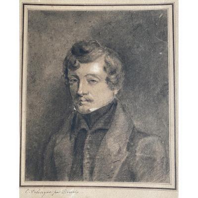 Portrait Of Casimir Delavigne By Eugène Deveria