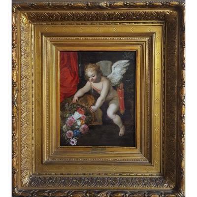 Hendrick Van Balen (1575-1632) Et Atelier  - Fleurs Et Cupidon