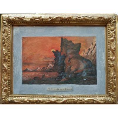 Johan Christian Dahl (1788-1857) - Midnight Sun In Norway, 1850