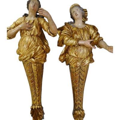 Sculptures En Bois Doré Et Polychrome Fin XVIIe Siècle