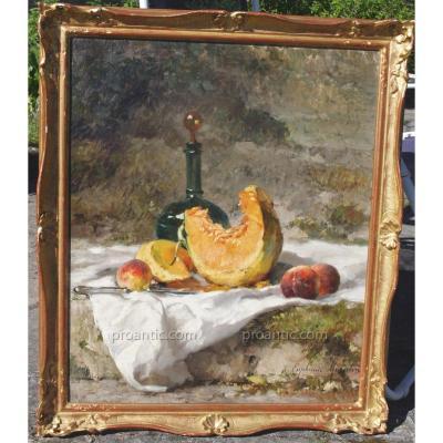 Euphemie Muraton  (1840 1914) Nature Morte Melon Et Pêches