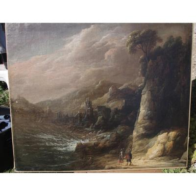 Flemish School Seventeenth, Great Landscape, Follower Of Joos De Momper