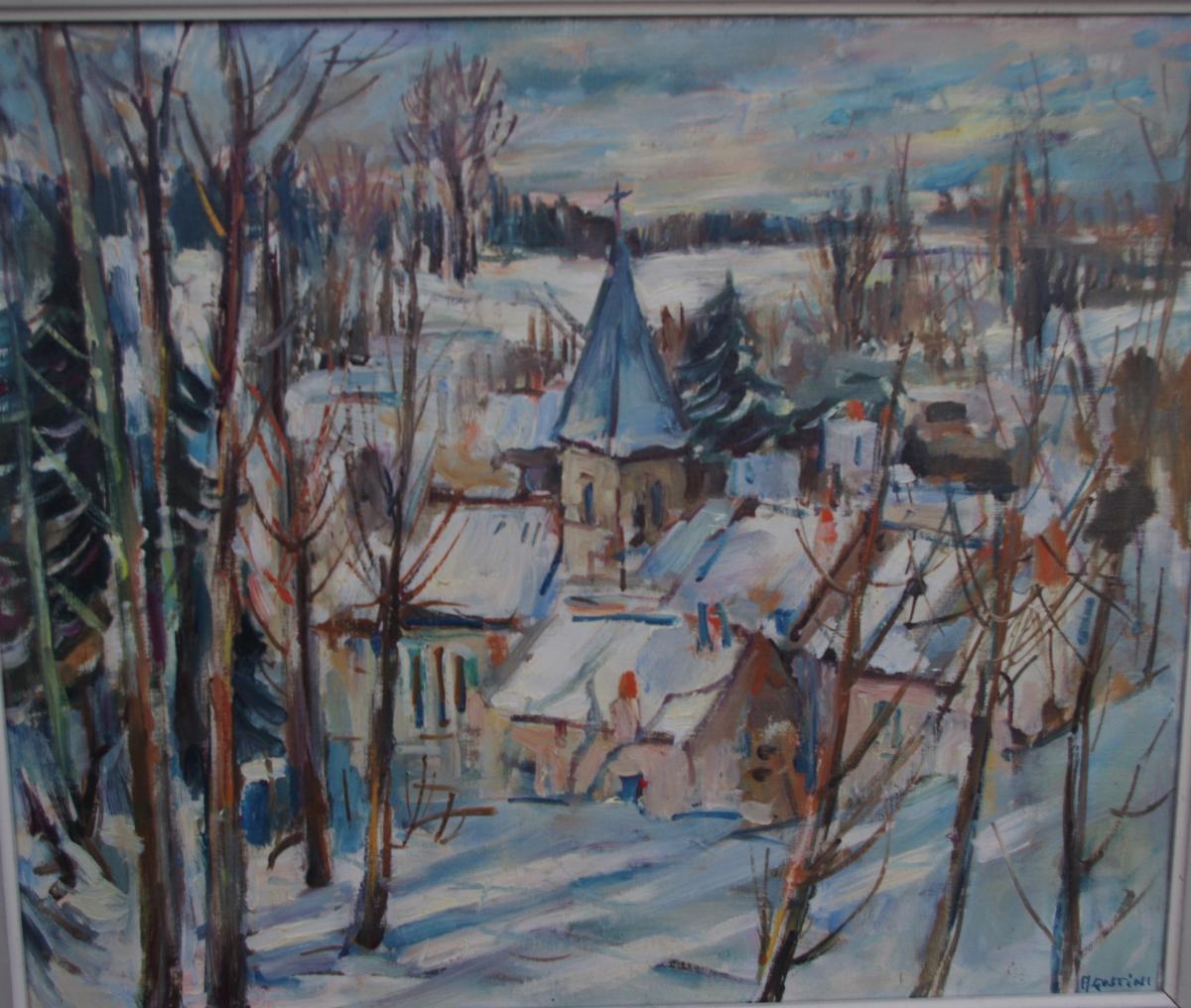 Max Agostini (1914 -1997) , Village Sous La Neige ,impressionniste