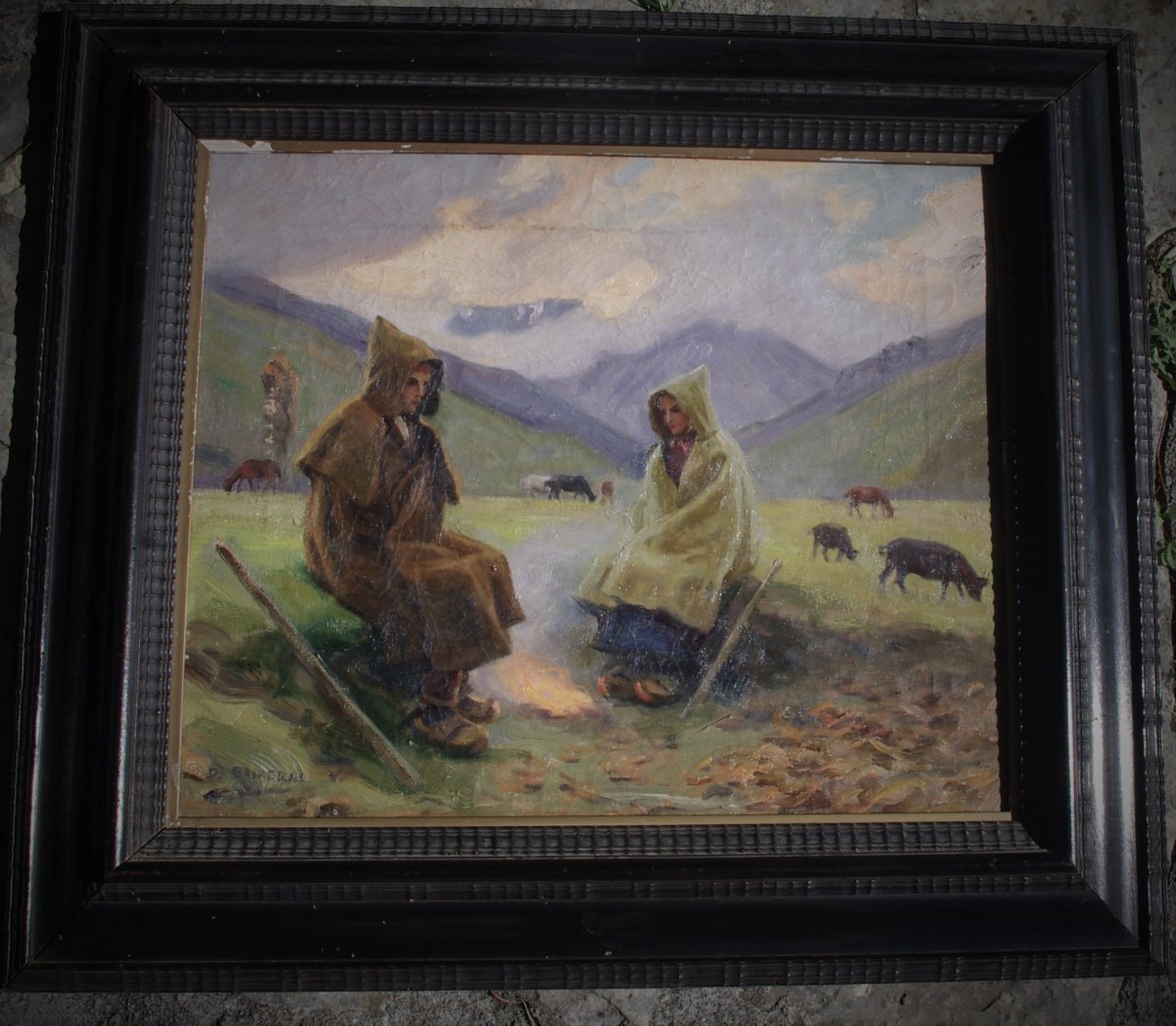 Dionisio Baixeras Verdaguer, 1862 1943 Catalan Spain, The Shepherds Near The Fire In The Mountain
