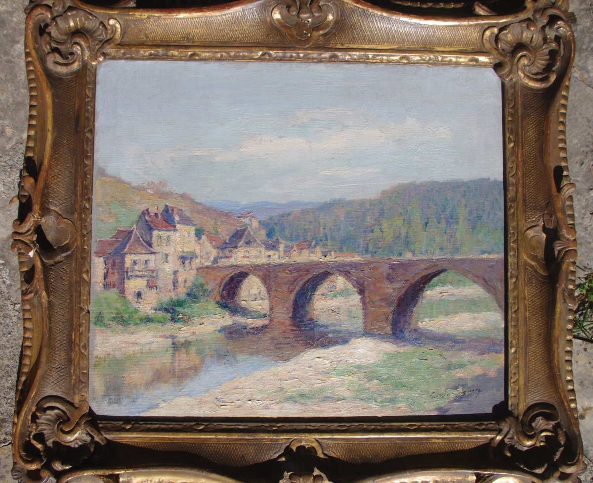 Eugène Beringuier 1874 1949 Impressionist Landscape Valley Of The Aveyron? Lot? Pyrenees
