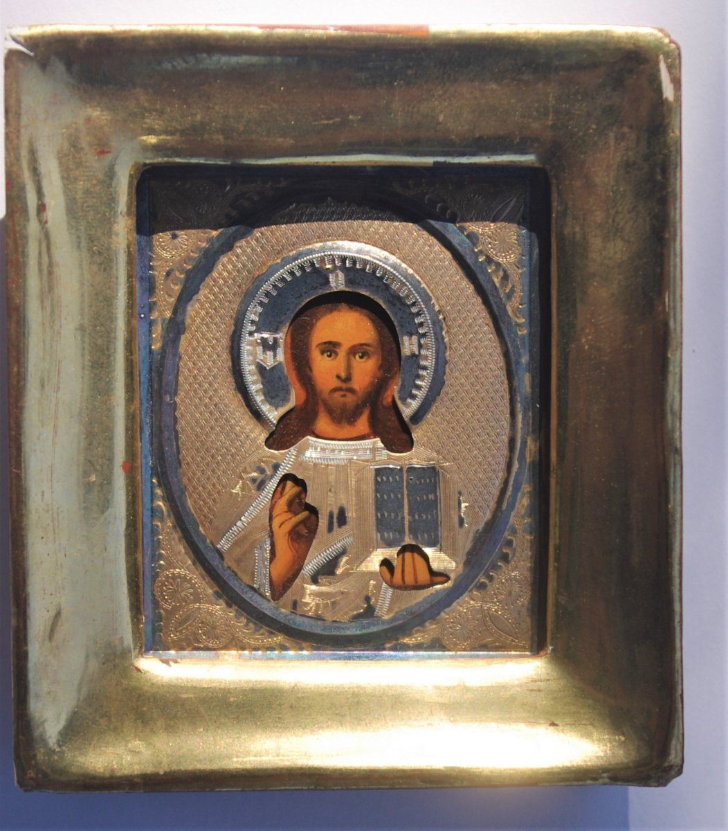 Small Russian Icon Old 19th Rizza Silver Christ Pantocrator