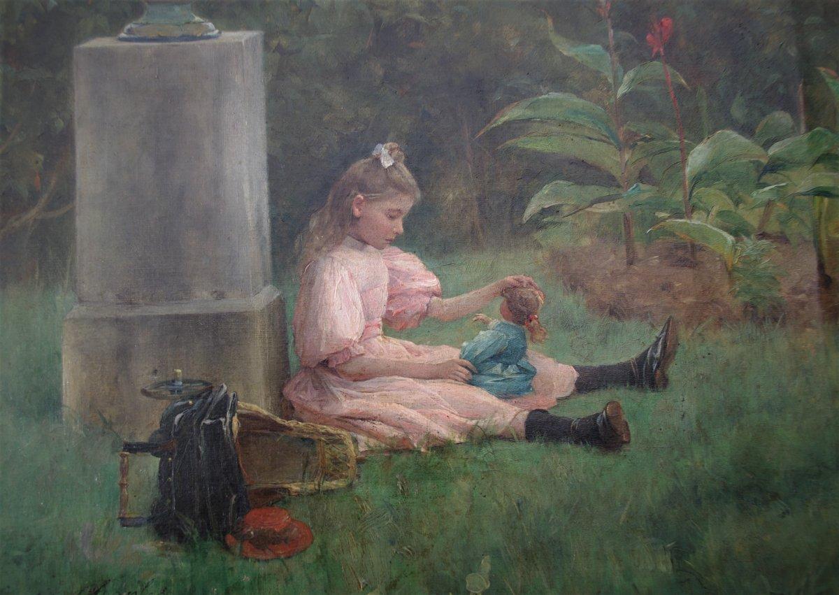Félix G. Berne-bellecour (? _ 1905) Little Girl Playing With Her Doll In The Garden