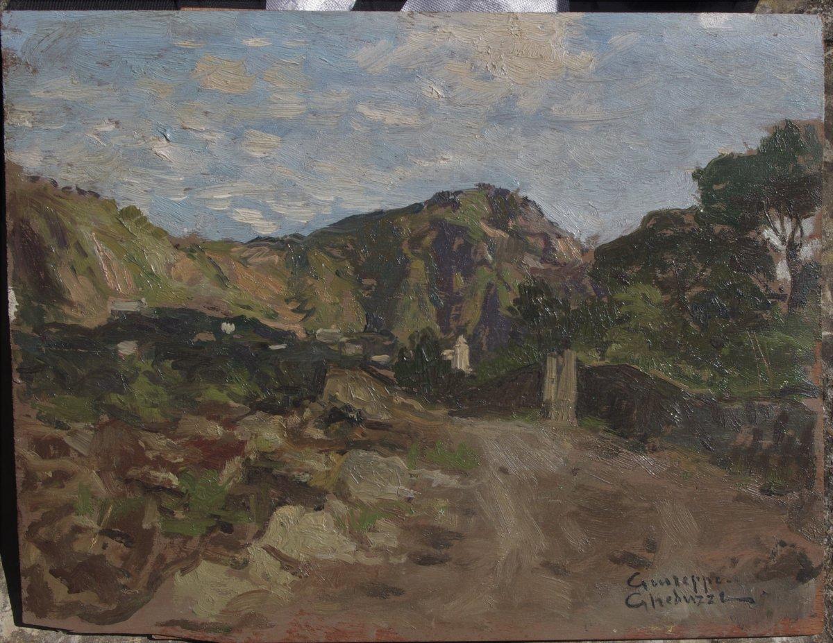 Giuseppe Gheduzzi (1889-1957) Italian Landscape, Oil On Wood