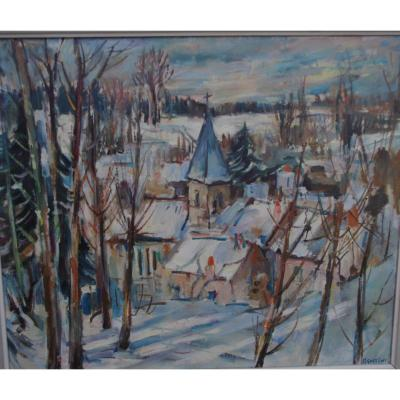 Max Agostini (1914 -1997), Village Under The Snow, Impressionist