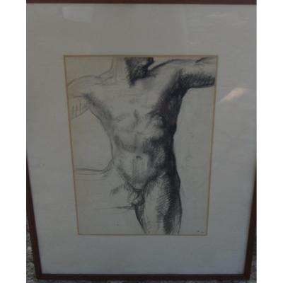 Grand Nude D Homme, Charcoal By Jacques Zwobada Around 1935 School Of Paris