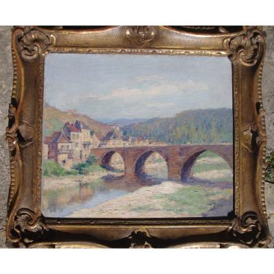 Eugène Beringuier 1874 1949 Impressionist Landscape Valley Of The Aveyron? Lot? Pyrenees