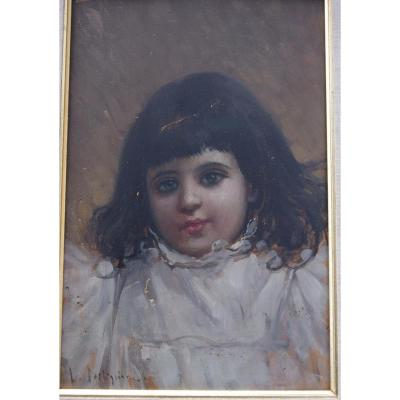 Luca Postiglione, 1876 1936, Italian Portrait Of Little Girl, To Restore